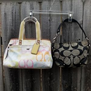 bundle of 2 small Coach tote bags yellow & black